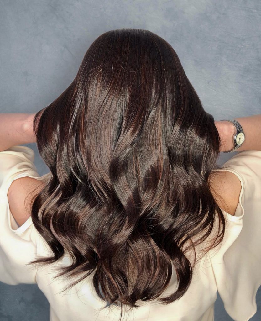 Sandalwood Brown Highlights designed by Salon Director of Chez Vous, Victor Liu