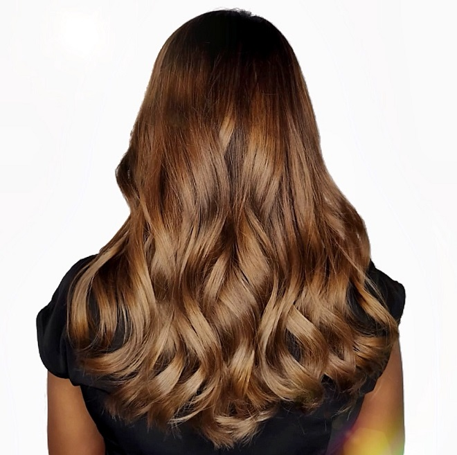 Melted Caramel Brown Balayage Designed by Associate Director of Chez Vous, Oscar Lee