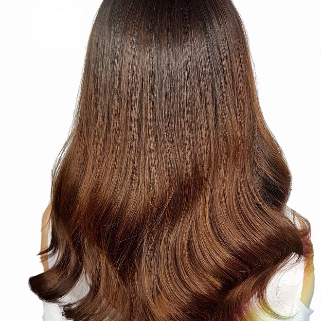 Toffee Brown Babylights Hair Designed by Director of Chez Vous, Luis Wee