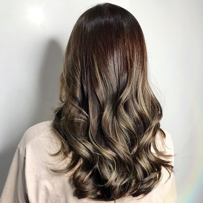 Medium Ash Brown Balayage Hair Designed by Associate Director of Chez Vous, Shawn Chia