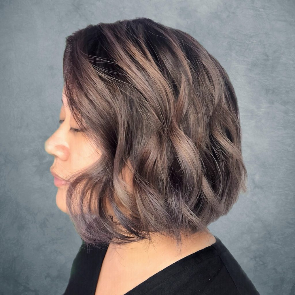 Mushroom Brown with Violet Hues Hair, designed by Associate Salon Director of Chez Vous, Shawn Chia