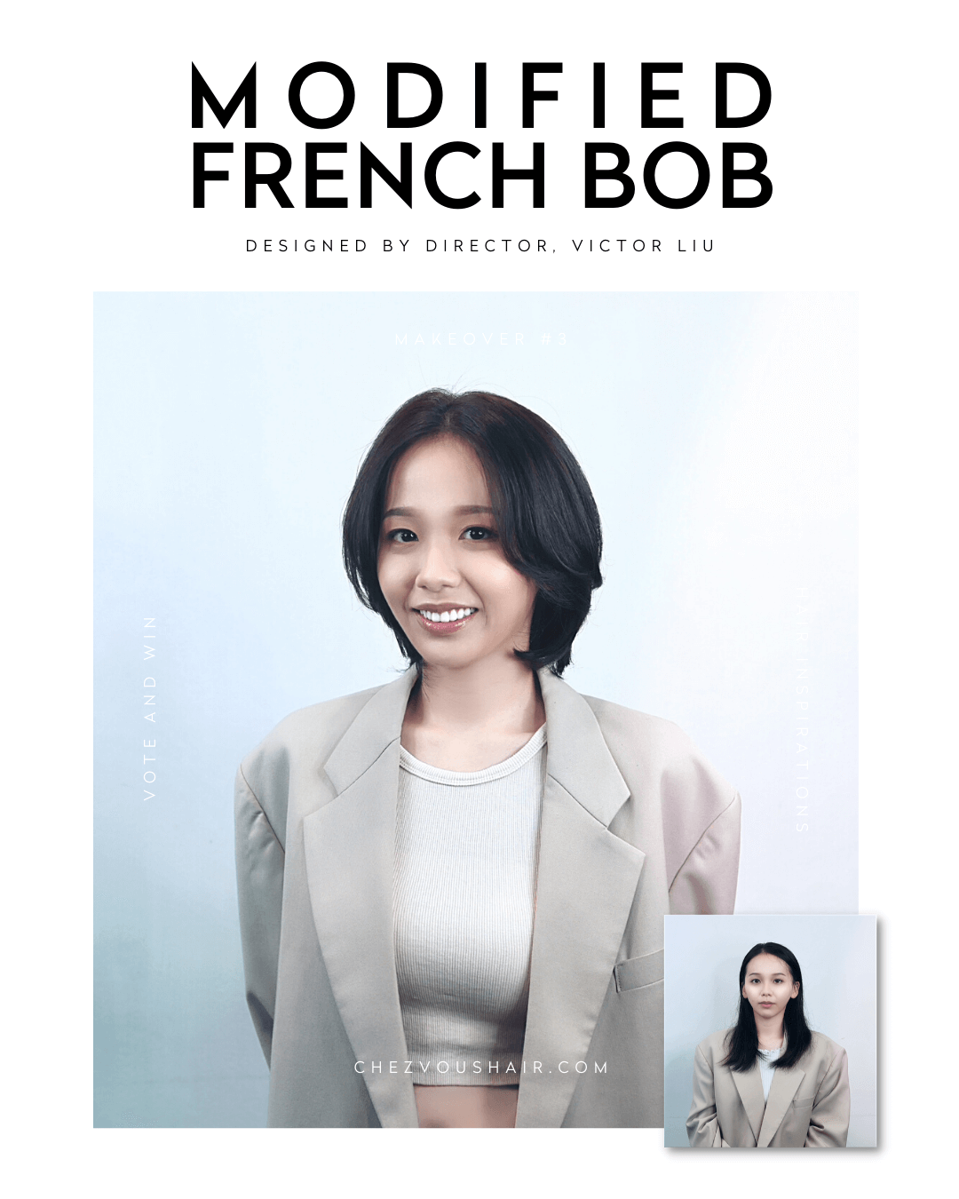 Best Short Haircuts & Medium-Length Hairstyles Trend #3: French Bob Hairstyle | Designed by Director of Chez Vous Hair Salon, Victor Liu | Services: Body Perm, Haircut